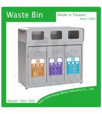 (TH3-90S) 不銹鋼三分類資源回收桶