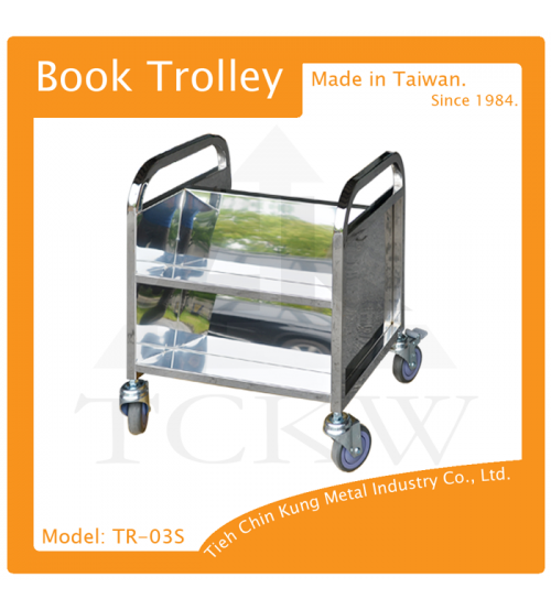 (TR-03S) 兩層不銹鋼還書車